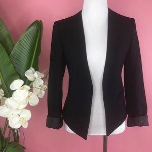 Topshop | Black Draped Open-Front Blazer Jacket 4